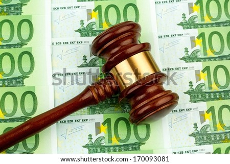 judge gavel and euro banknotes. symbol photo for r costs in court of law and auctions - stock photo