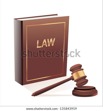 Judge gavel and law book. Isolated on white