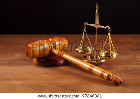 judge gavel  and scales - stock photo