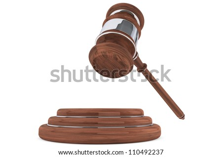 Judge gavel and sound block on a white background