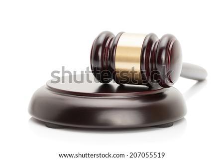 Judge gavel and soundboard isolated on white background - studio shoot.  - stock photo
