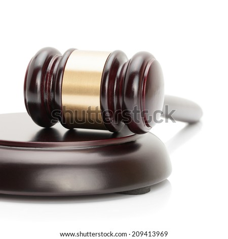 Judge gavel and soundboard isolated on white background - studio shoot - 1 to 1 ratio - stock photo
