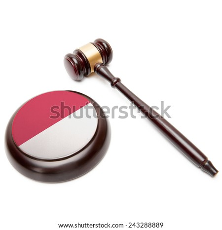 Judge gavel and soundboard with national flag on it - Indonesia - stock photo