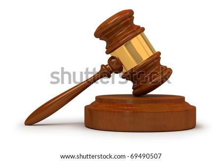 Judge gavel . 3d image. Isolated white background. - stock photo