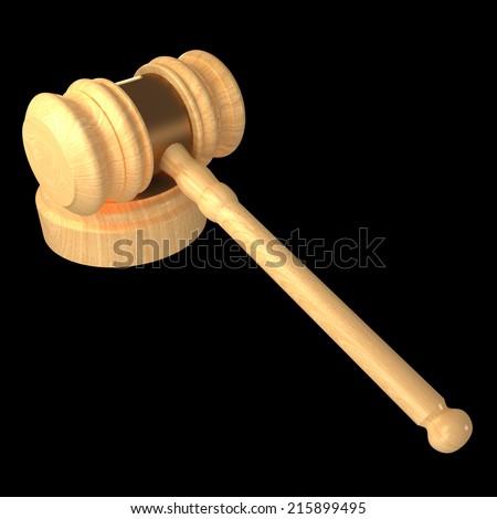 Judge gavel. isolated on black background 3d illustration. high resolution - stock photo