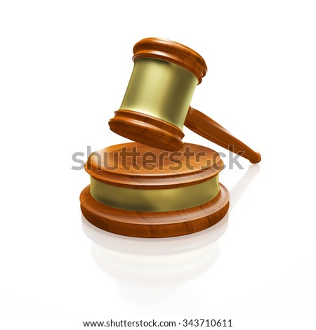 Judge Gavel Mallet Isolated on White - stock photo