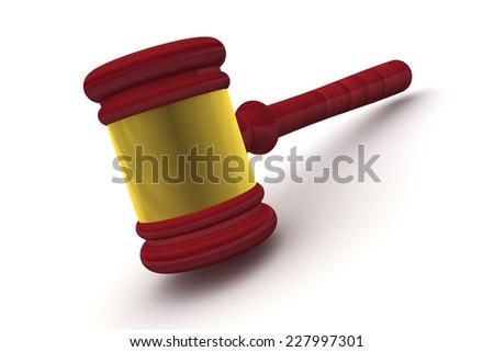 Judge Gavel Standing isolated on white background - stock photo