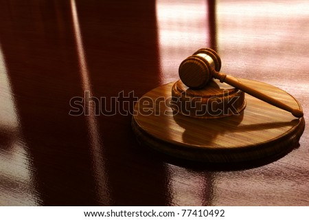 Judge gavel with lighted background, 300 D.P.I - stock photo