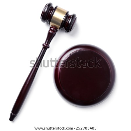 Judge hammer on a white background - stock photo