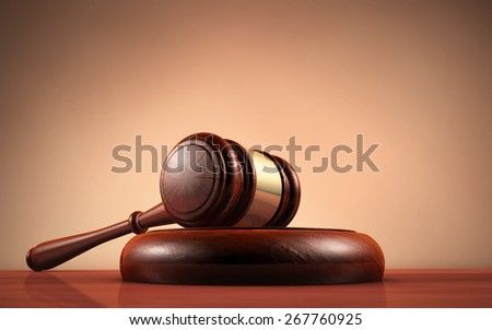 Judge, law, lawyer and Justice concept with a close-up 3d rendering of a gavel on a wooden desktop with dark red-brown background. - stock photo