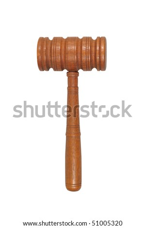 Judge's courtroom gavel isolated over a white background with clipping path