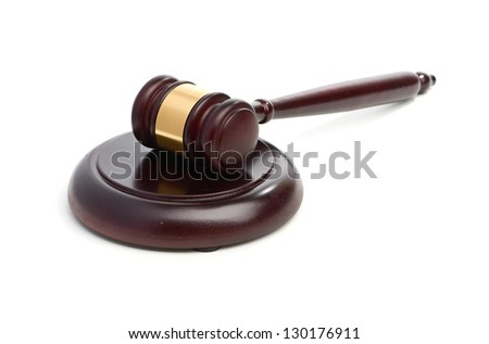 Judge's gavel isolated on white