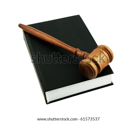 Judge's gavel legal book isolated on white - stock photo