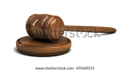 Judge's wooden gavel isolated on white background