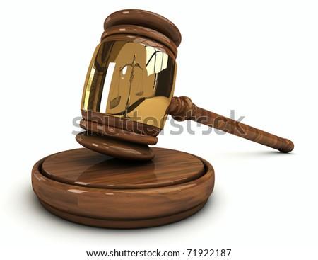Judge's wooden gavel isolated on white background - stock photo