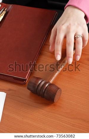 Judge taking the hammer - stock photo