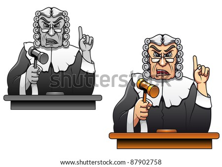 Judge with gavel for law concept design in cartoon style. Vector version also available in gallery - stock photo