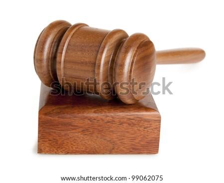 Judge wooden gavel isolated on white background - stock photo