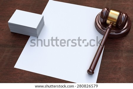 Judge, wooden gavel on the brown wooden background with white, blank paper and business cards. Mockup - stock photo