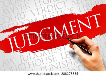 Judgement word cloud concept - stock photo