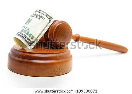 judges court gavel and hundred dollar bill, on white - stock photo