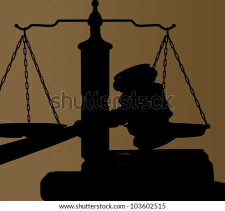 judges court gavel and justice scales silhouette - stock photo