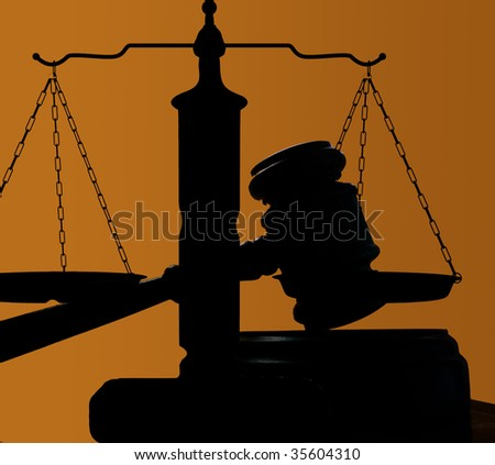 judges court gavel and scales of justice - stock photo