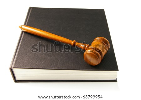 judges court gavel on a lawbook - stock photo