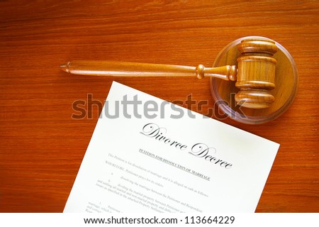 judges gavel and a divorce decree document - stock photo