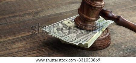 Judges Gavel, Soundboard And Bundle Of Dollar Cash On The Rough Wooden Table. Concept For Corruption, Bankruptcy Court, Bail, Business Or Financial Crime, Bribing, Fraud, Auction Bidding - stock photo