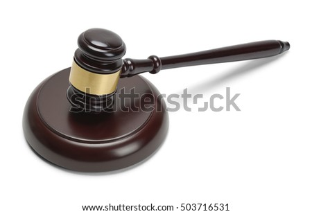 Judges Mallet Gavel Isolated on White Background.