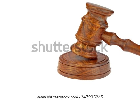 Judges or Presiding Officer or Auctioneers Hardwood Gavel and Sound Board Isolated on White Background - stock photo