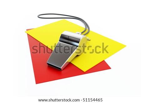 judging whistle football - stock photo