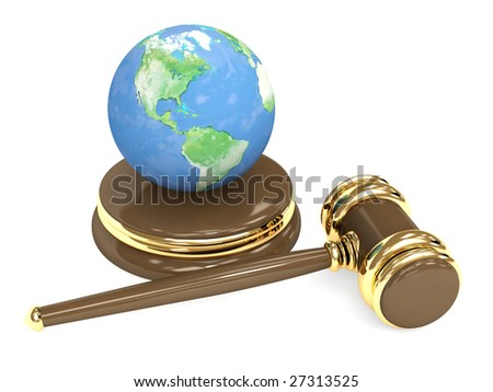 Judicial 3d gavel and Earth - stock photo