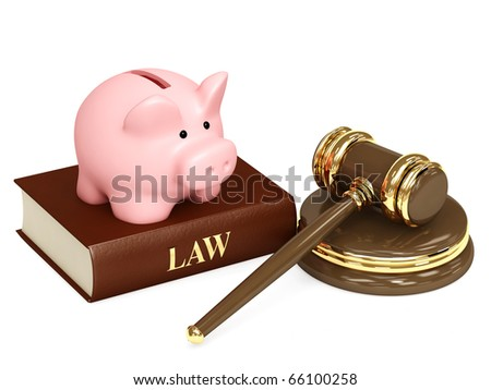 Judicial 3d gavel and piggy bank. Objects isolated over white - stock photo