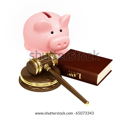 Judicial 3d gavel and piggy bank. Objects over white