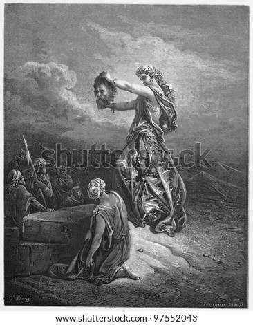 Judith Shows the Head of Holofernes - Picture from The Holy Scriptures, Old and New Testaments books collection published in 1885, Stuttgart-Germany. Drawings by Gustave Dore. - stock photo