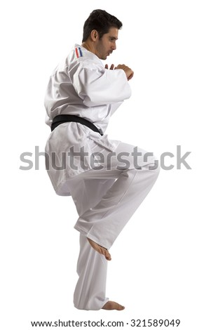 Judo fighter from different countries on white background