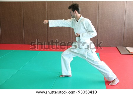 judoka on tatami - stock photo