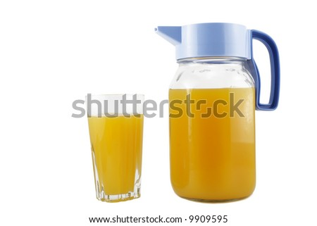 jug and glass isolated on white