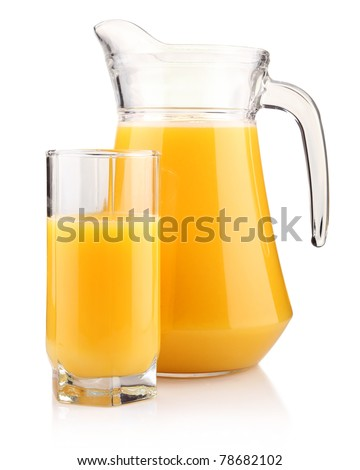 Jug and glass of orange juice isolated on white background - stock photo
