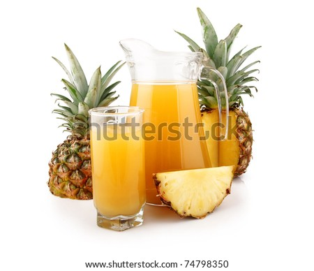 Jug and glass of pineapple juice with fruits isolated on white background - stock photo