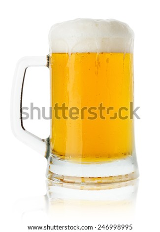 jug of beer isolated on the white background - stock photo