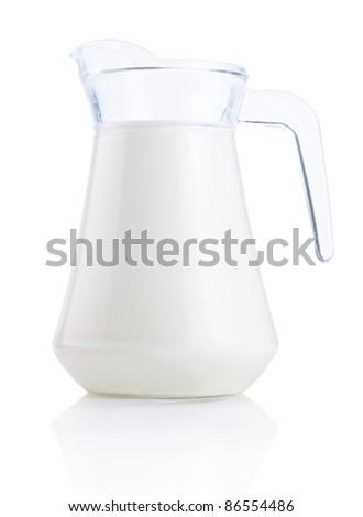 Jug of fresh milk Isolated on White Background - stock photo