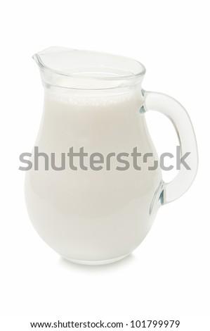 jug of milk isolated on white background - stock photo