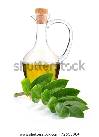 Jug of olive oil and branch of bay leaf isolated on white background