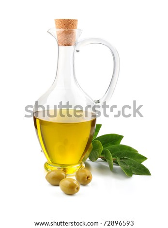 Jug of olive oil, beans and branch of bay leaf isolated on white background