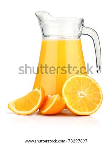 Jug of orange juice and orange fruits isolated on white - stock photo