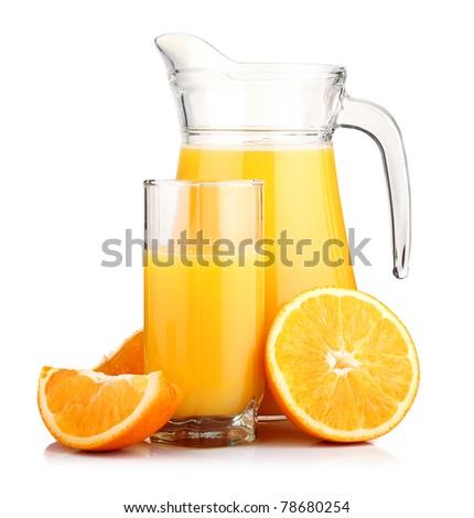 Jug of orange juice and orange fruits isolated on white background - stock photo