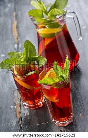 jug of sangria and glasses - stock photo